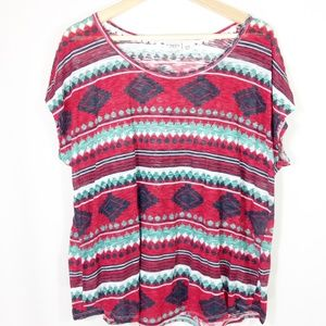 Cato Red Green White Tribal Boho Top  18/20 W
